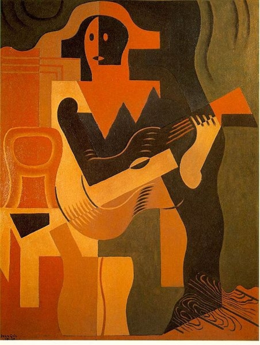 Harlequin with Guitar, by Juan Gris, public domain image