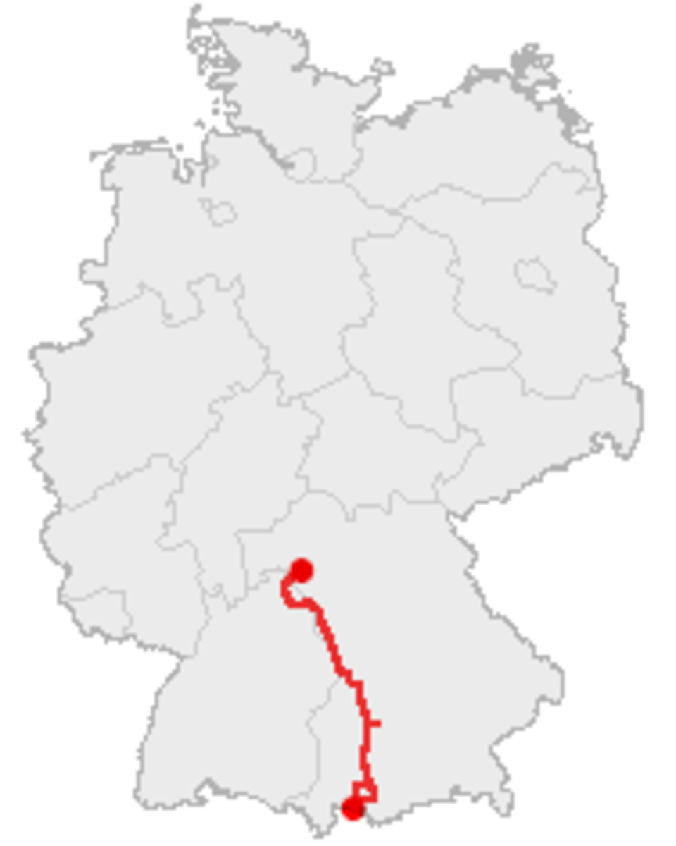 Map of the Romantic Road in Germany