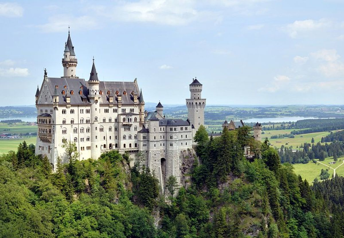 Schloss Neuschwanstein, or Neuschwanstein Castle, in the German hills in Southern Bavaria in Germany.