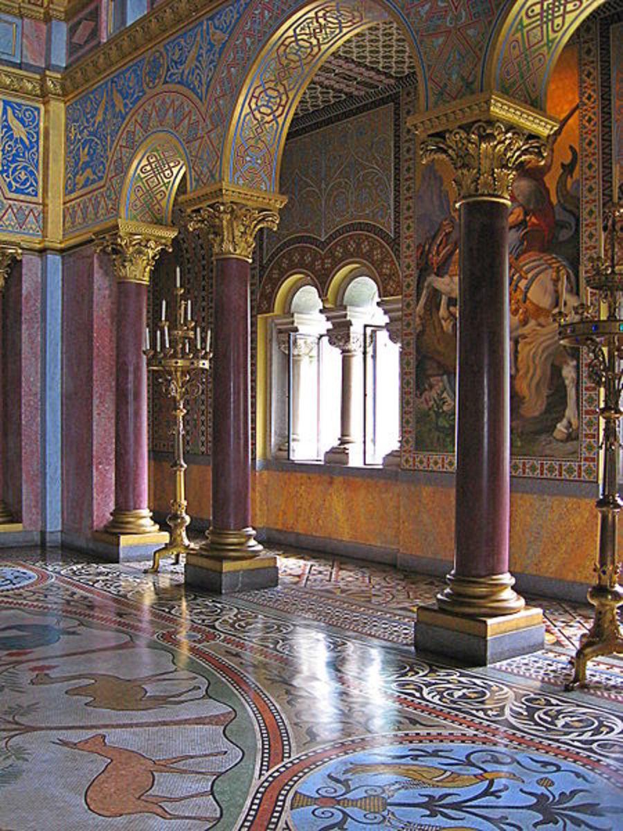 Corridor to the throne room in the interior of Neuschwanstein Castle.
