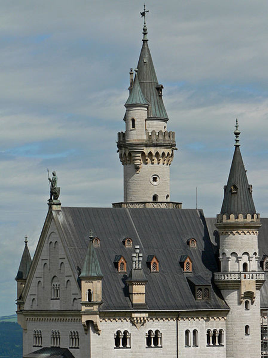 Closeup of Neuschwanstein Castle Towers.