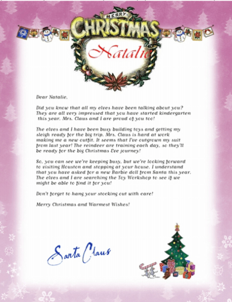 Free Letters from Santa Claus.com offers five different background designs that include your child's name in the top banner.