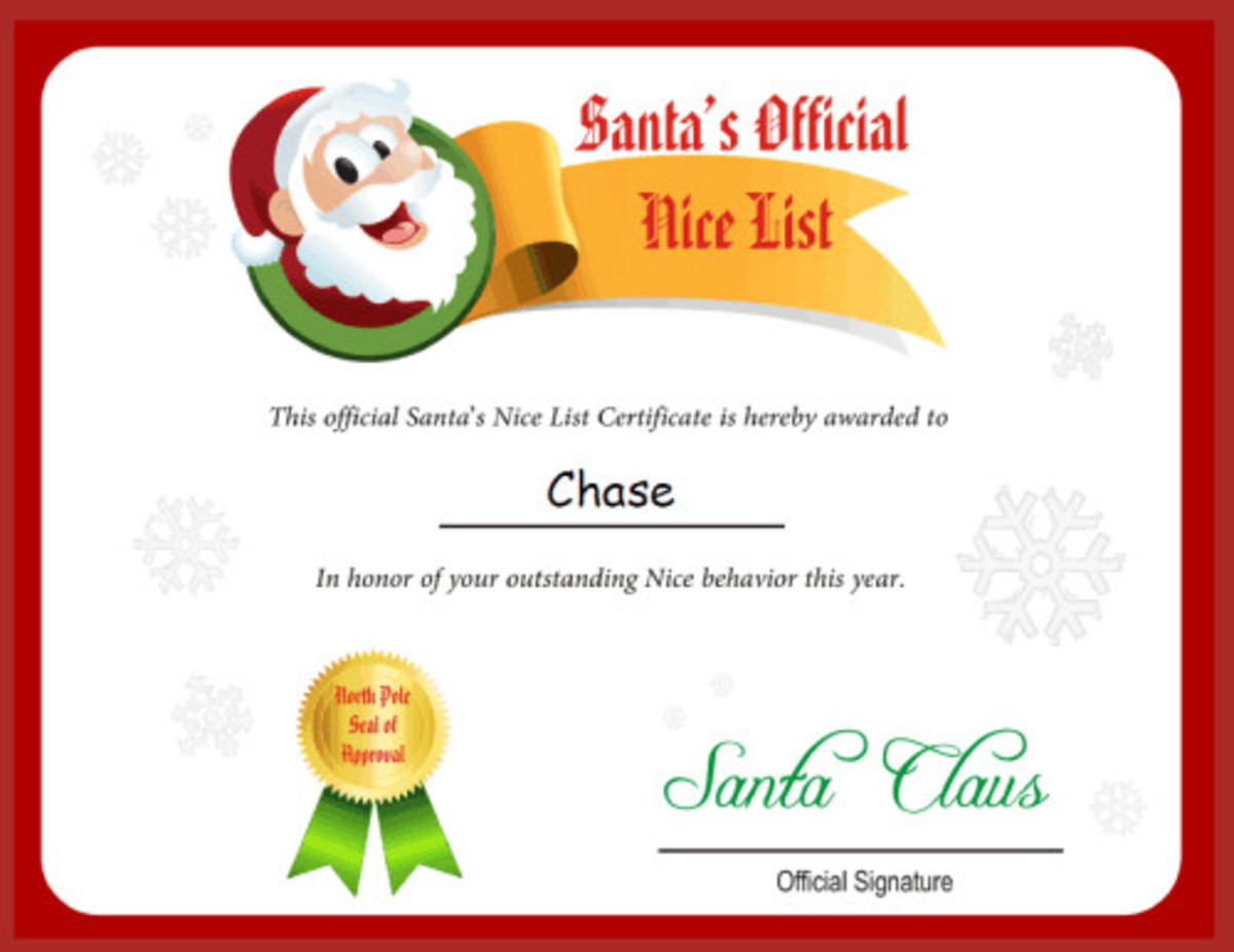 If you upgrade to the paid letter at Free Letter from Santa Claus.net, you can get a personalized Nice List certificate like the one shown here.