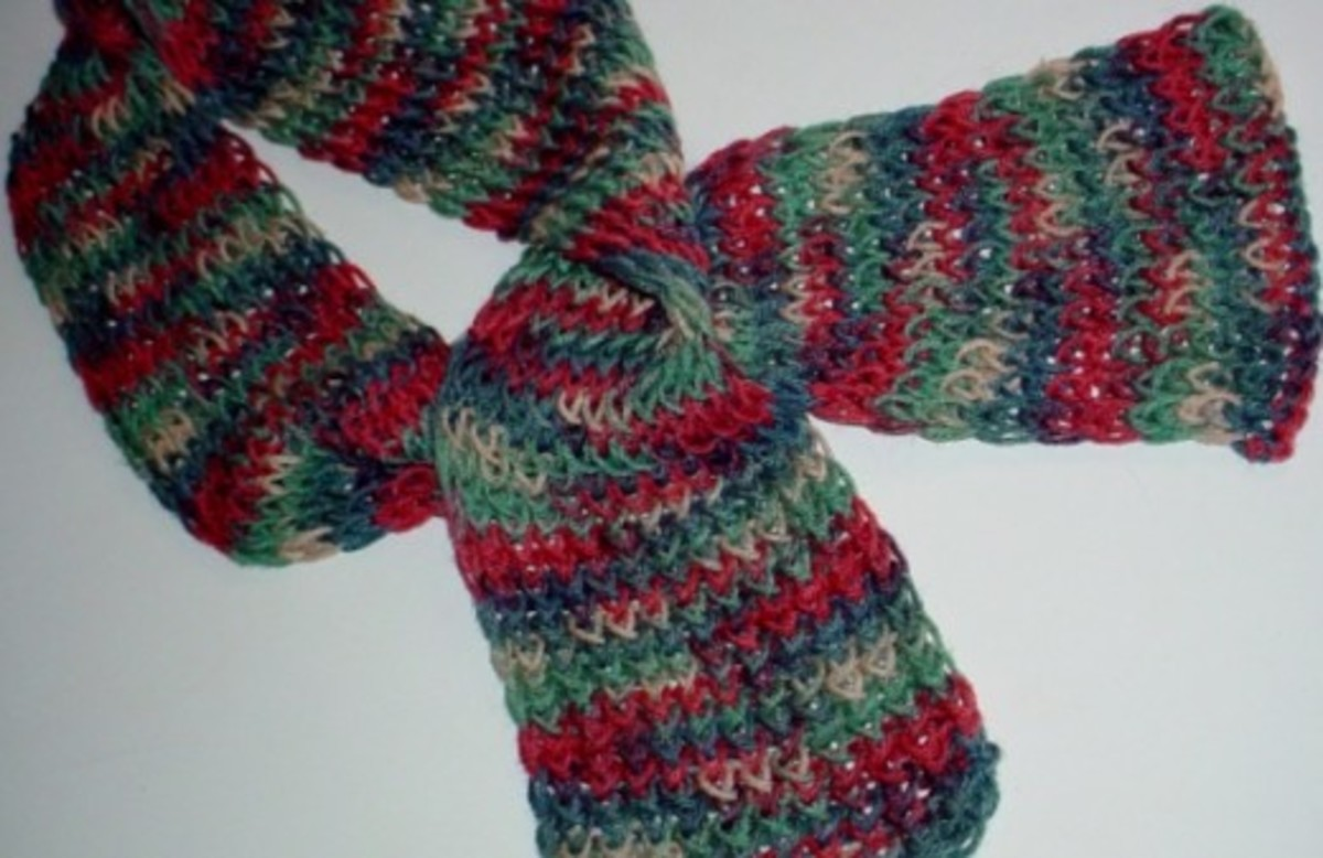 Jelly bean scarf from The Knifty Knitter blog