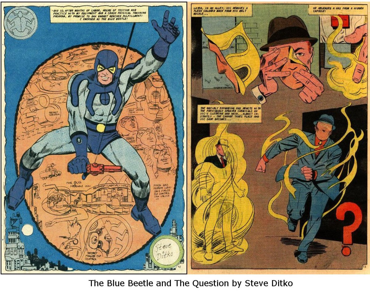 The Blue Beetle and The Question by Steve Ditko.