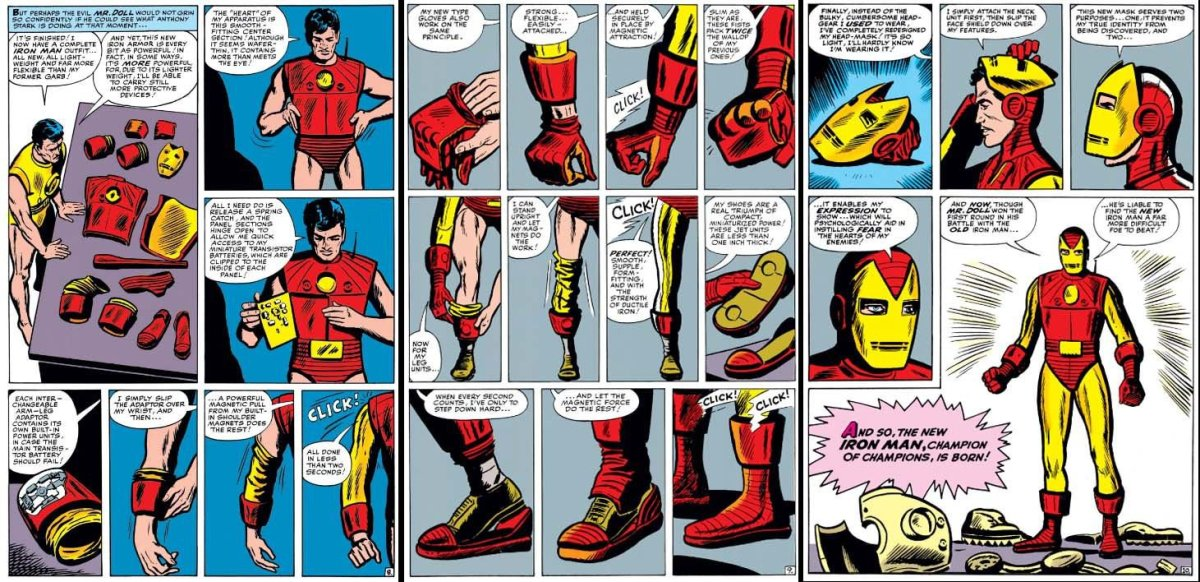 Iron Man's classic red and gold color scheme. From Tales of Suspense #48.