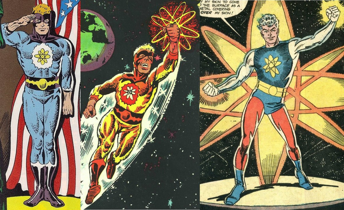 The evolution of Captain Atom's costume under Steve Ditko.