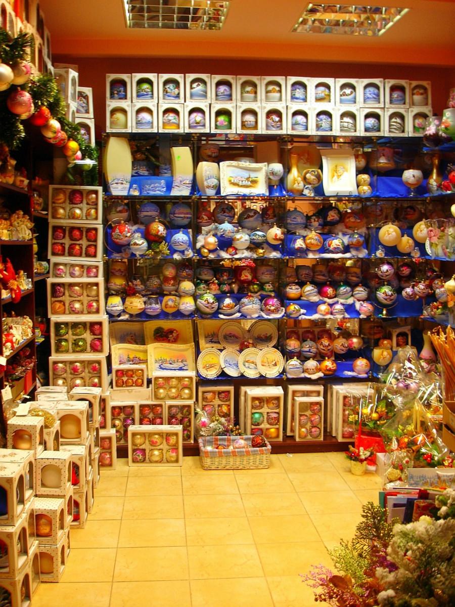 Christmas ornament store in Sanok, Poland (southeast Poland)