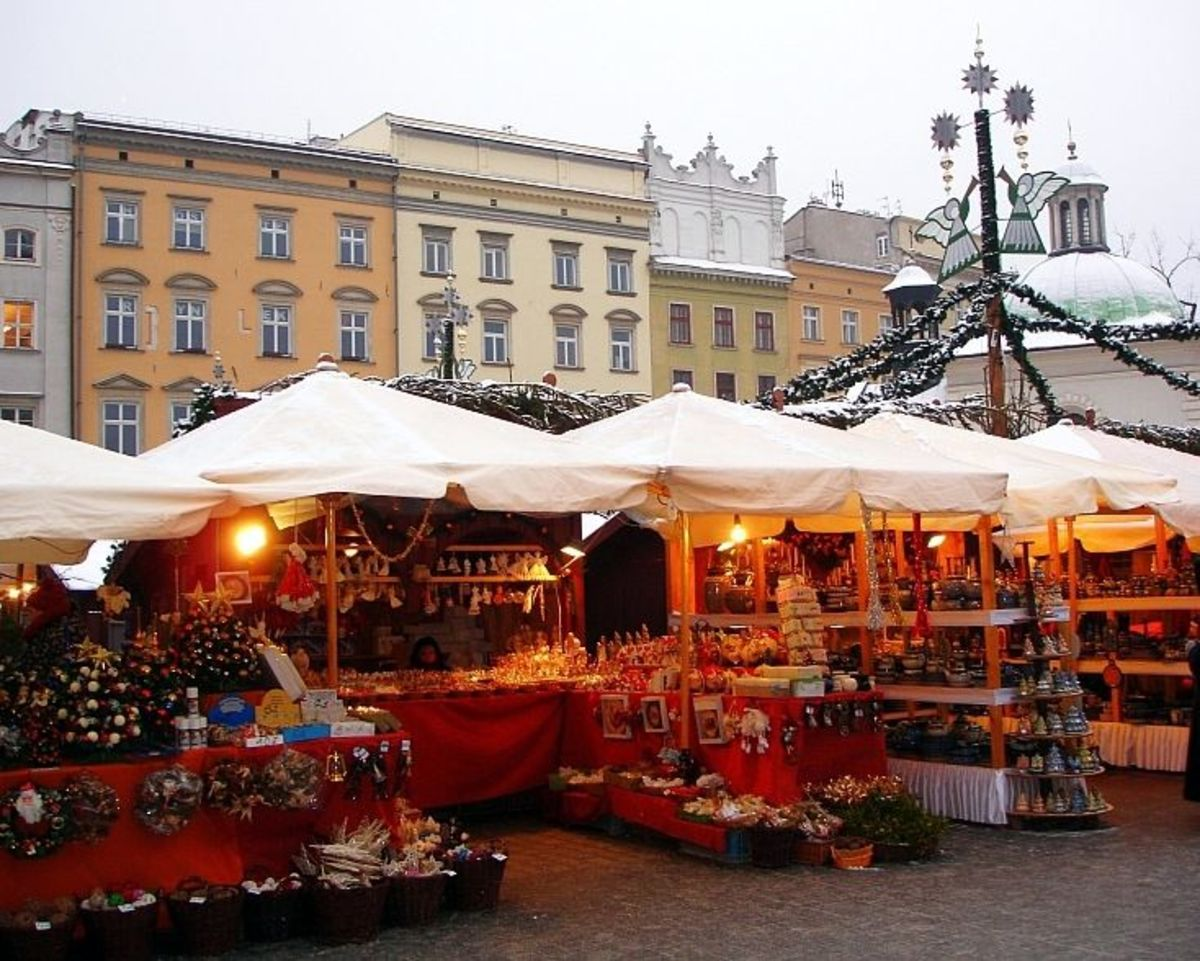 Christmas Market in Krakow's Main Square:  2012.  (By Silar , via Wikimedia Commons)