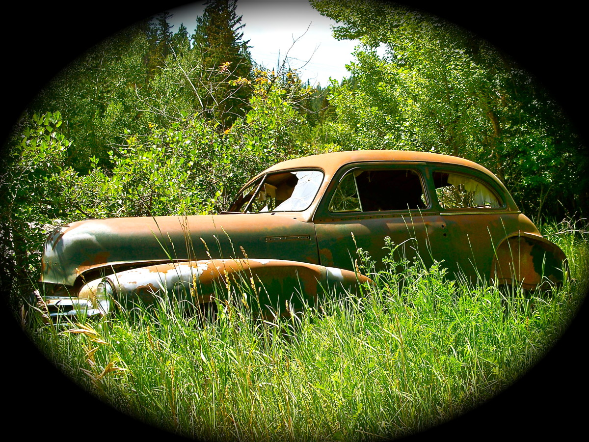 This old car was nearly hidden in the brush off one of the scenic byways near Lead, SD.