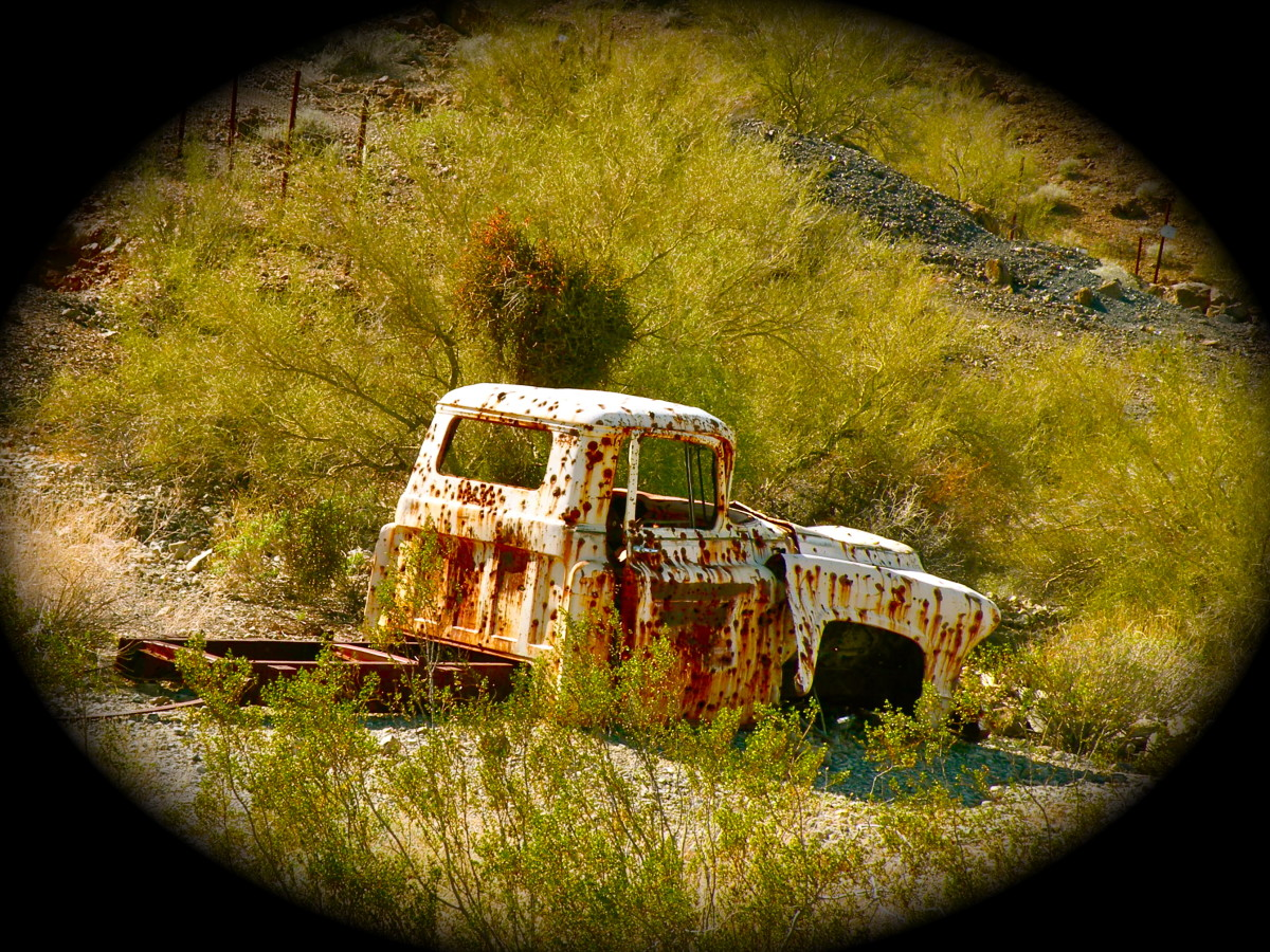 This old truck was one of the abandoned vehicles in Swansea Ghost Town in Arizona.