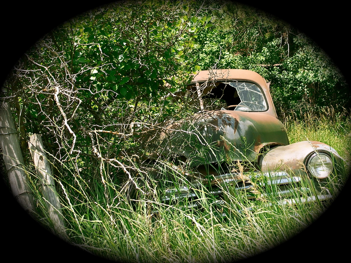 Who shot out the window of this old abandoned car?