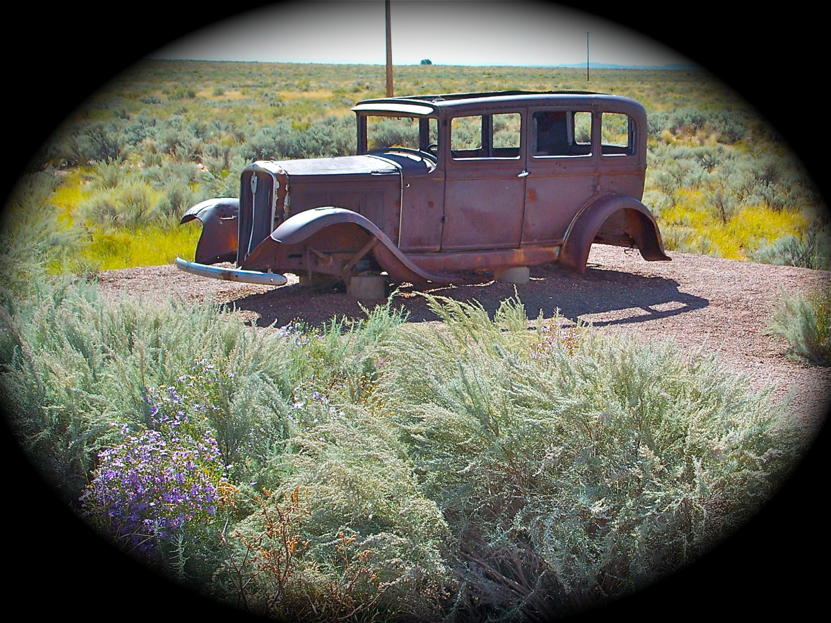This car was abandoned along old Route 66 near the Petrified Forest in Arizona. They were probably collectors of petrified wood.