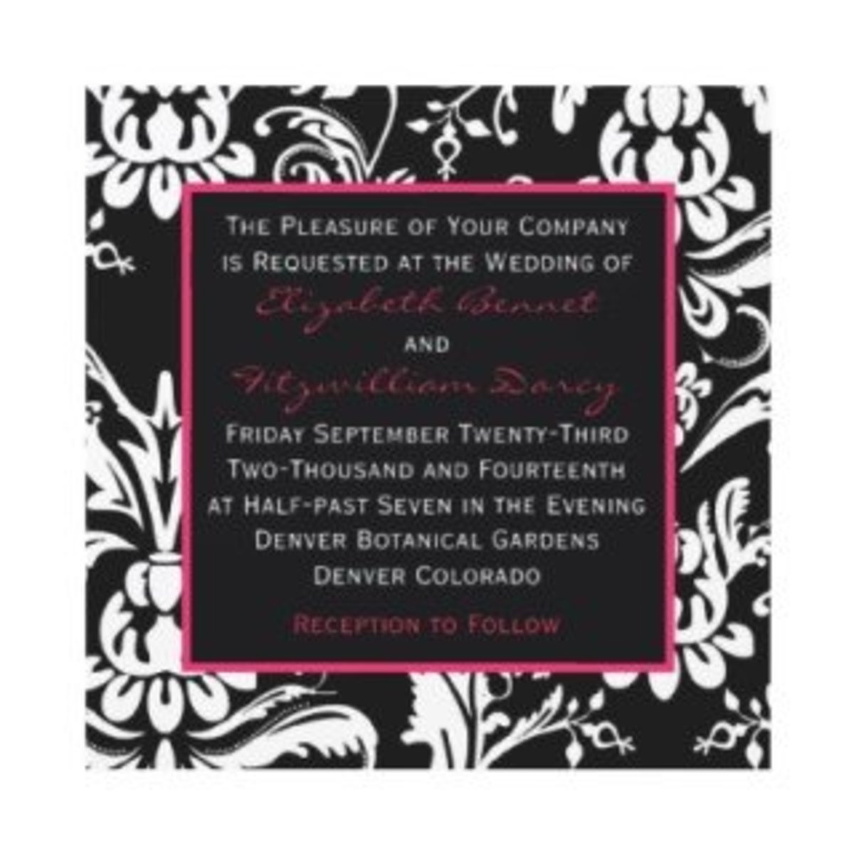 black & hot pink contemporary damask invitation photo credit: fallweddinginvitation.net