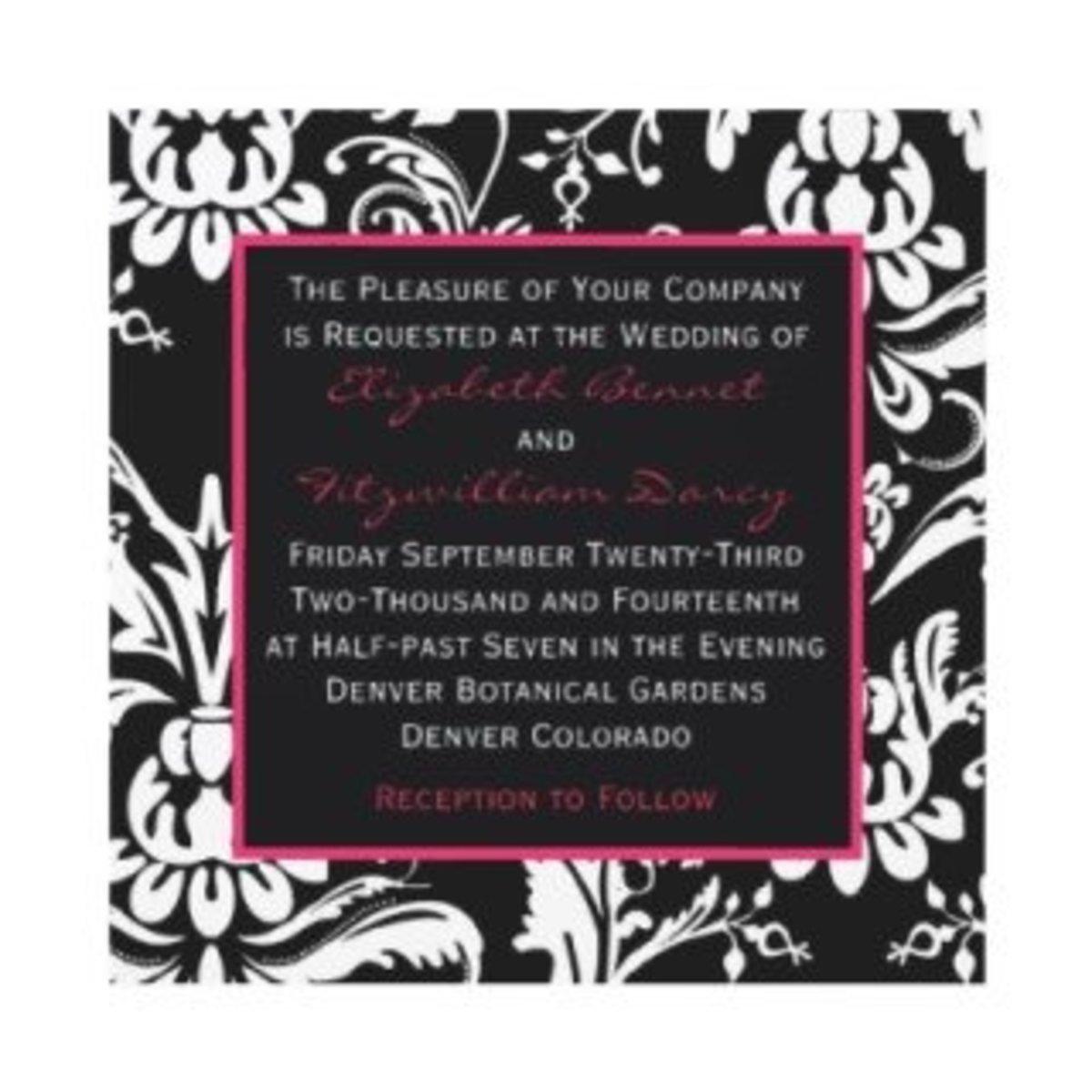 black & hot pink contemporary damask invitation photo credit: fallweddinginvitation.net