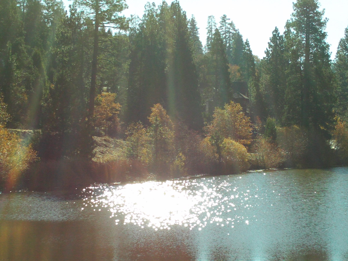 The rays of sunshine beaming down on the lake below.