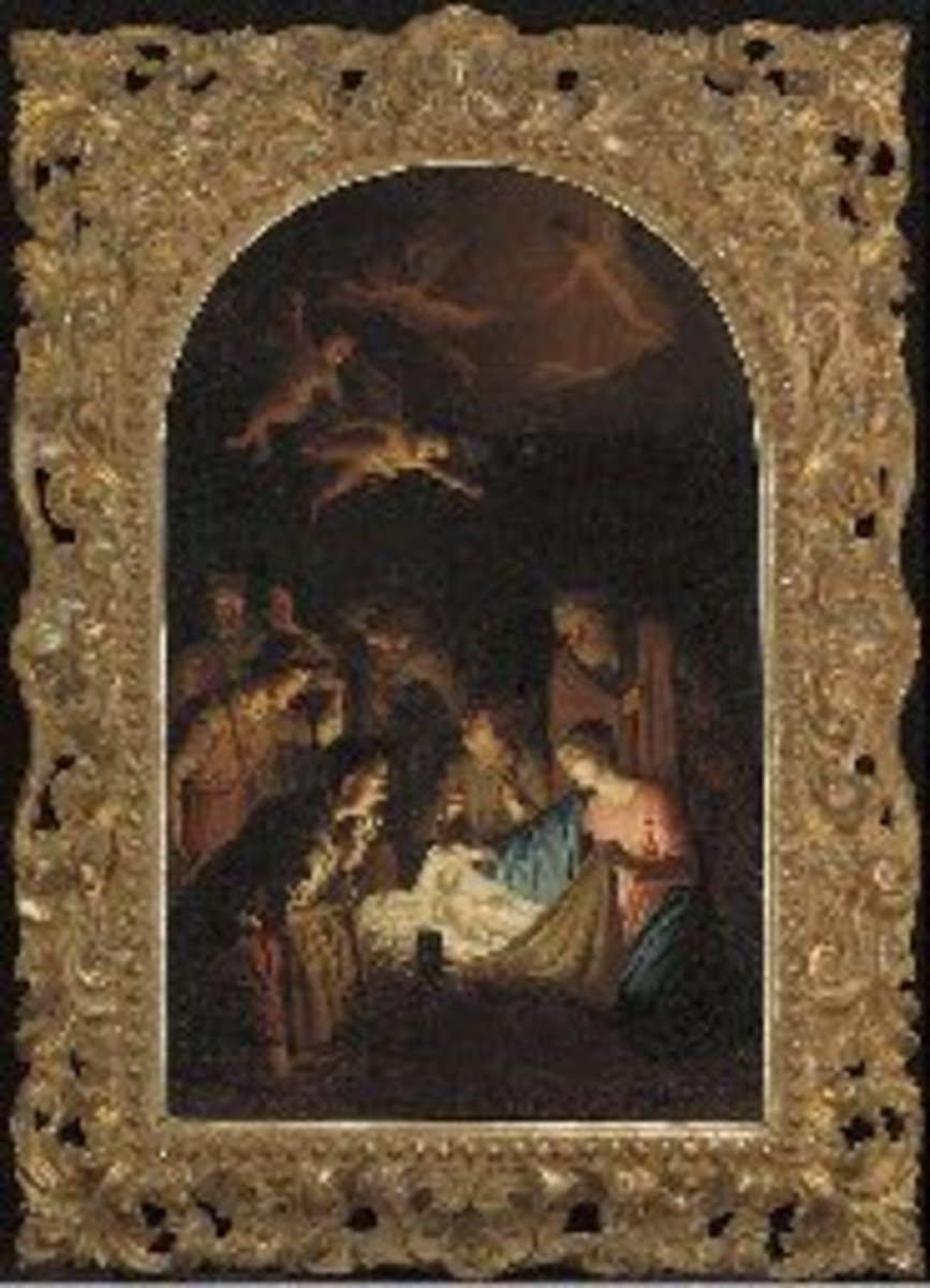 Lot Description Manner of Michelangelo Merisi, called Caravaggio The Nativity oil on canvas, feigned arched top, in an elaborately carved Florentine frame 28 1/8 x 17¾ in. (71.4 x 45 cm.)