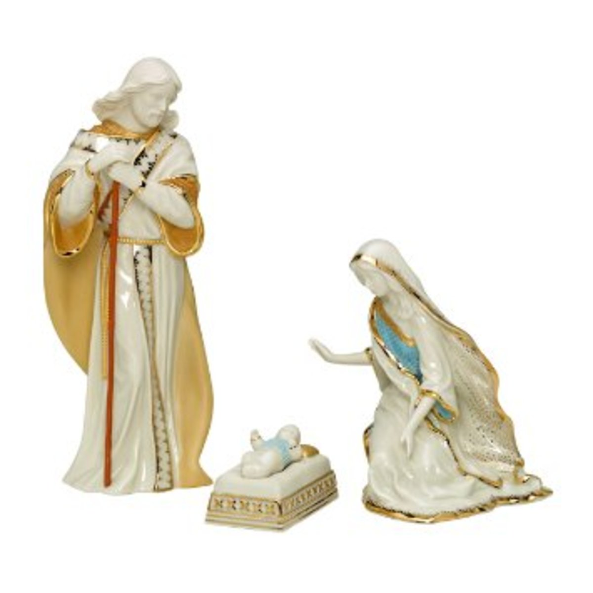 nativity set by Lenox with Mary, Joseph and baby Jesus in white porcelain with gold