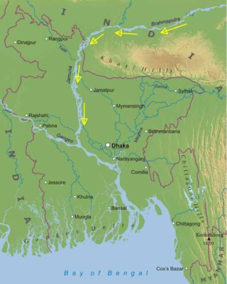 River Brahmaputra becomes Jamuna in Bangladesh