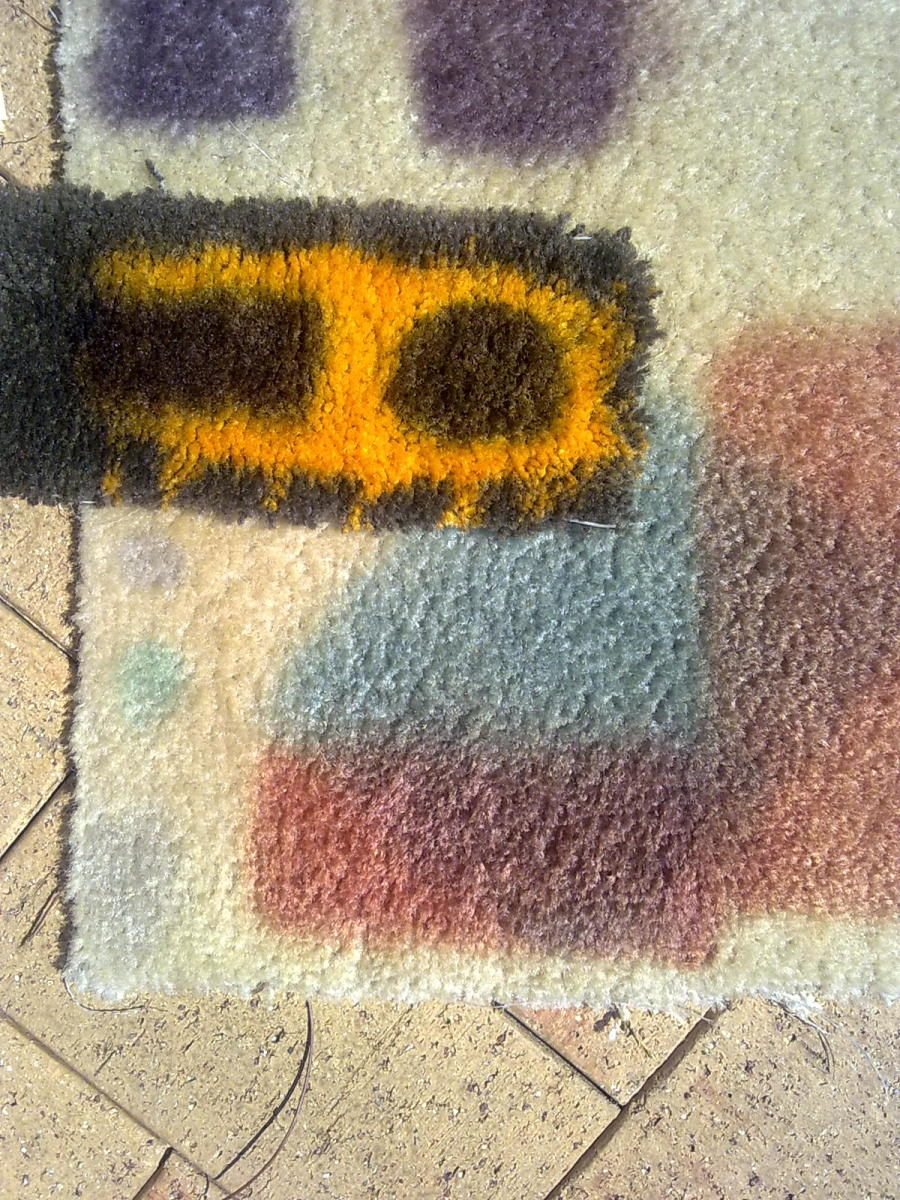 Carpet dyeing tests to get depth & colour right for STRONG Bleach spots Notice the chocolate test pretty well matches except for slightly dark