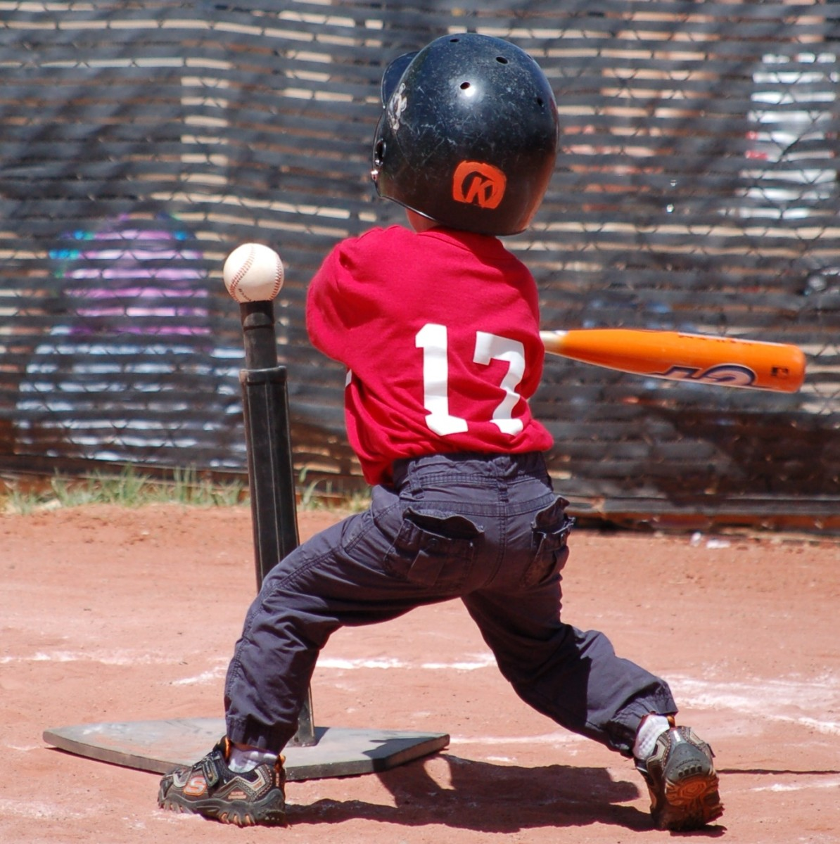 T-Ball Player up to Bat at the Tee
