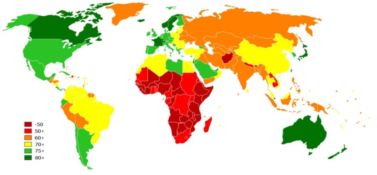 WORLD MAP OF LIFESPANS (GREEN GOOD; RED BAD)
