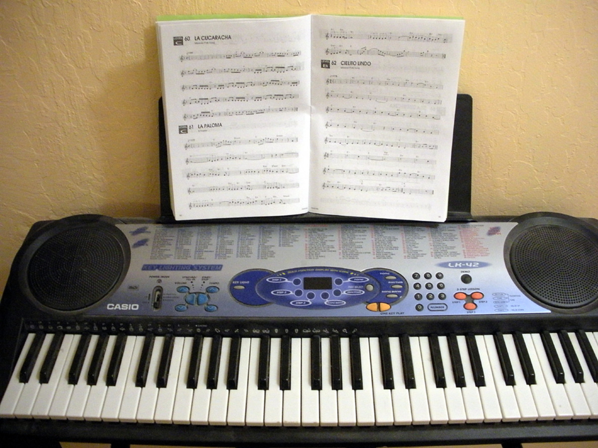 Keyboard with sheet music