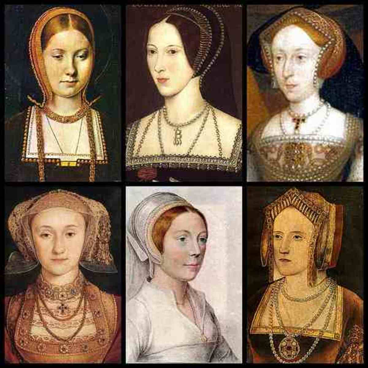 King Henry's six wives. But who was Elizabeths Mother? Starting from top left. Catherine of Aragon. Anne Boleyn. Jane Seymour. Anne of Cleves. Catherine Howard. Katherine Parr.