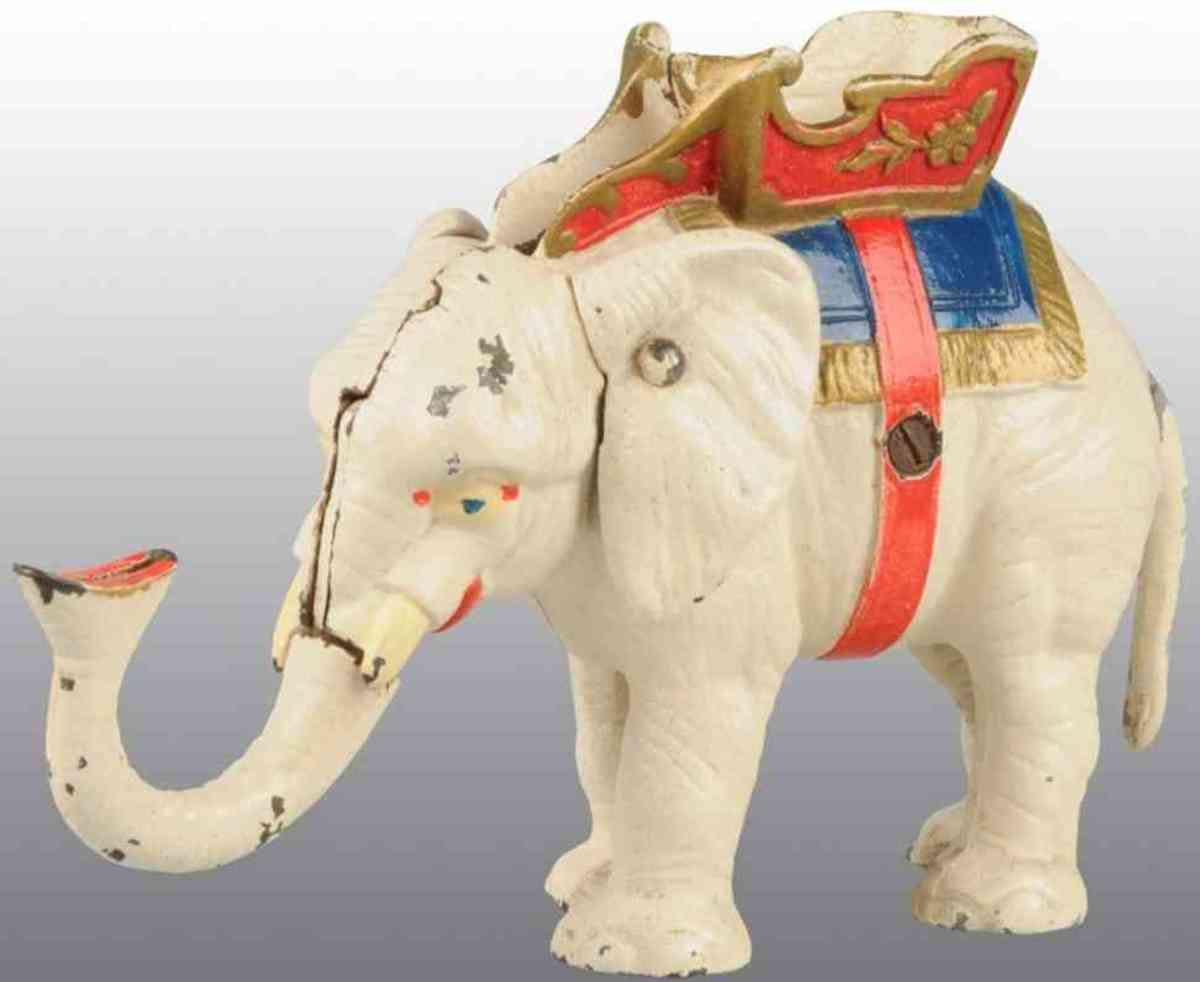 Hubley Cast Iron Mechanical Bank: Cast iron elephant pull tail mechanical bank in white