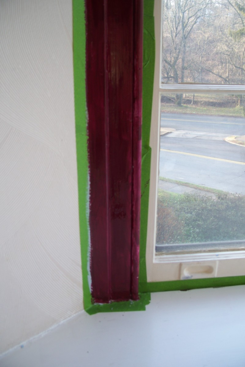 It looks a bit purple in these photos, but I used a rich maroon for the trim as it was one of the signature colors of the early 50's, when my house was built