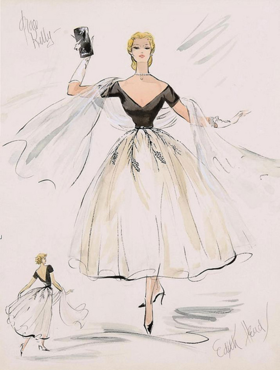 Edith Head's sketch for the dress Grace Kelly wore in Rear Window!