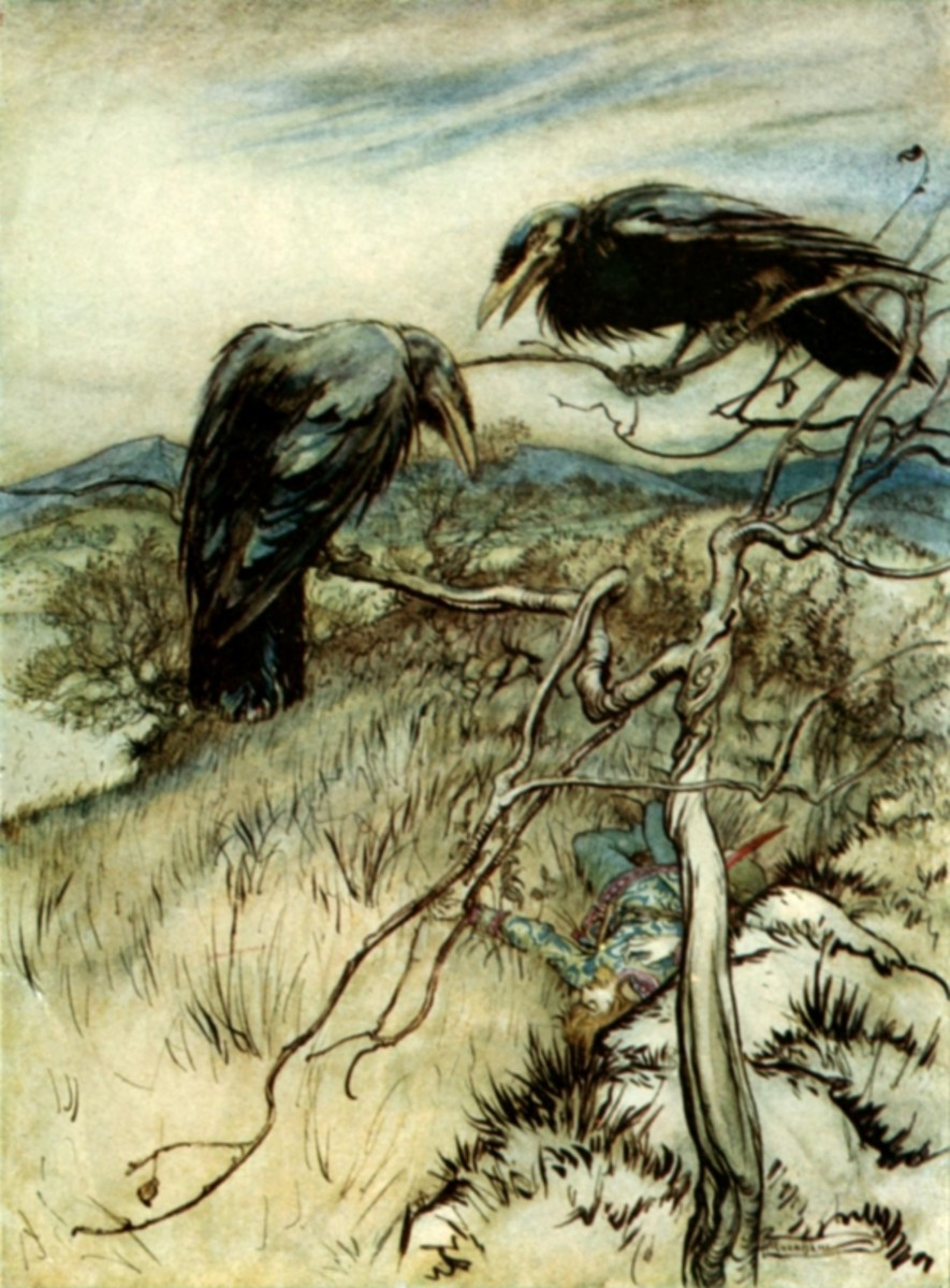 Two crows painted by Arthur Rackham. Creative Commons Attribution