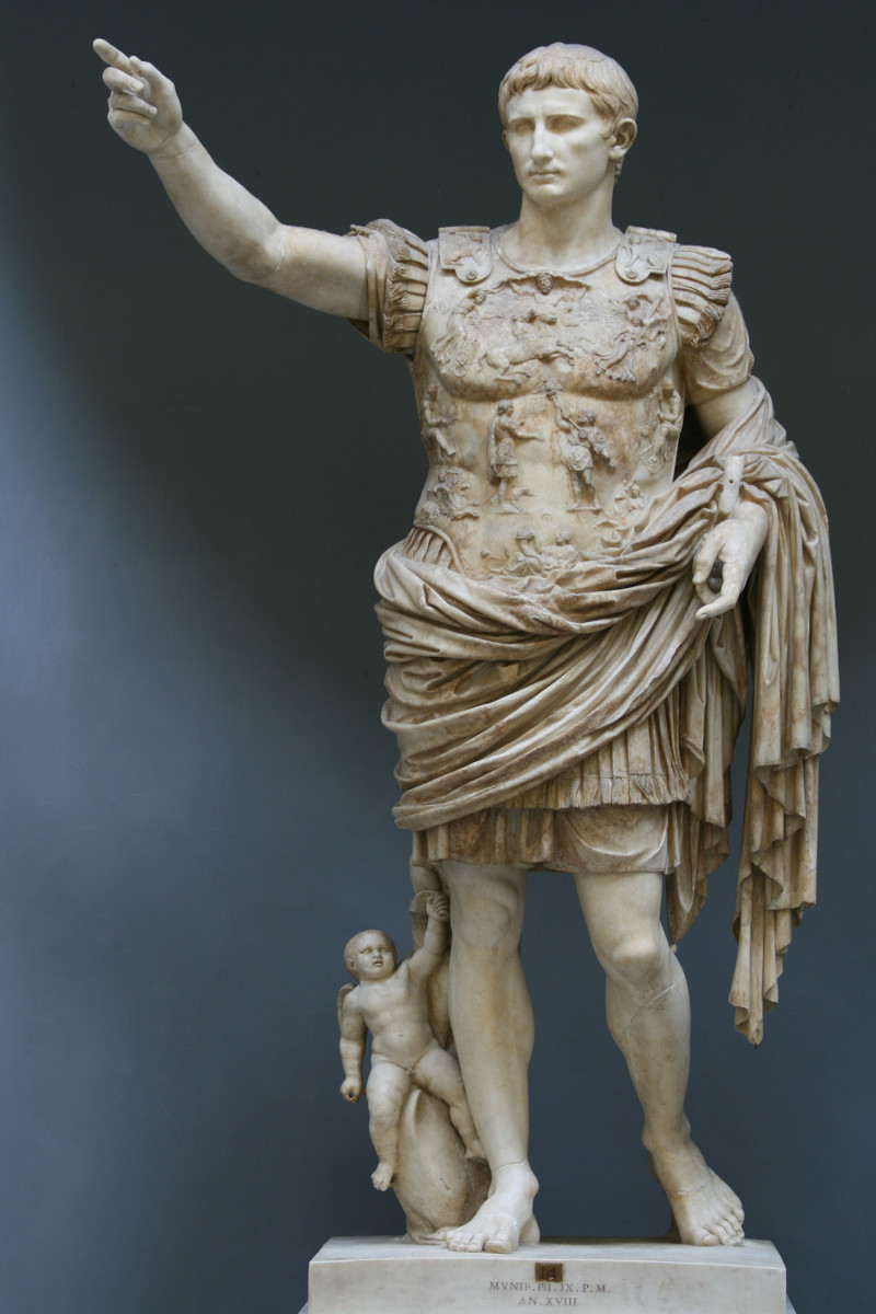 Augustus of Prima Porta, a statue of the first Roman Emperor now in the Vatican Museum.