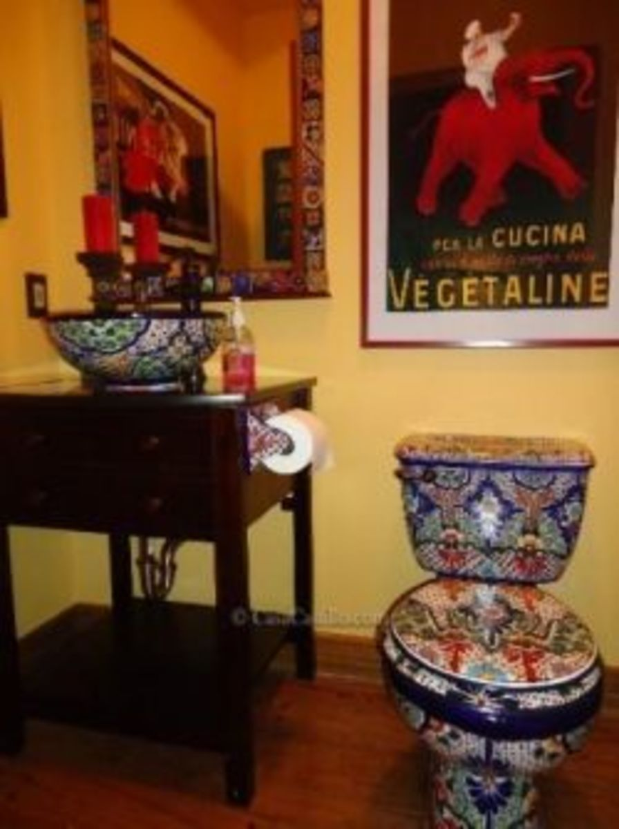 Finished Bathroom With Talavera Toilet