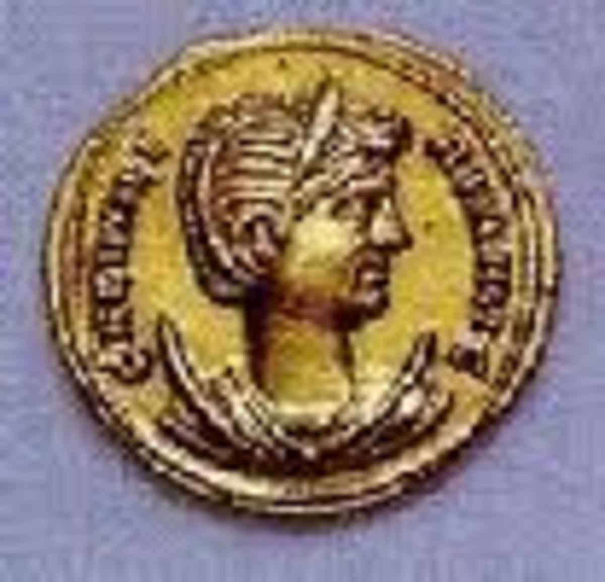 The Diocletian's wife and true love, Prisca as depicted on a golden coin.
