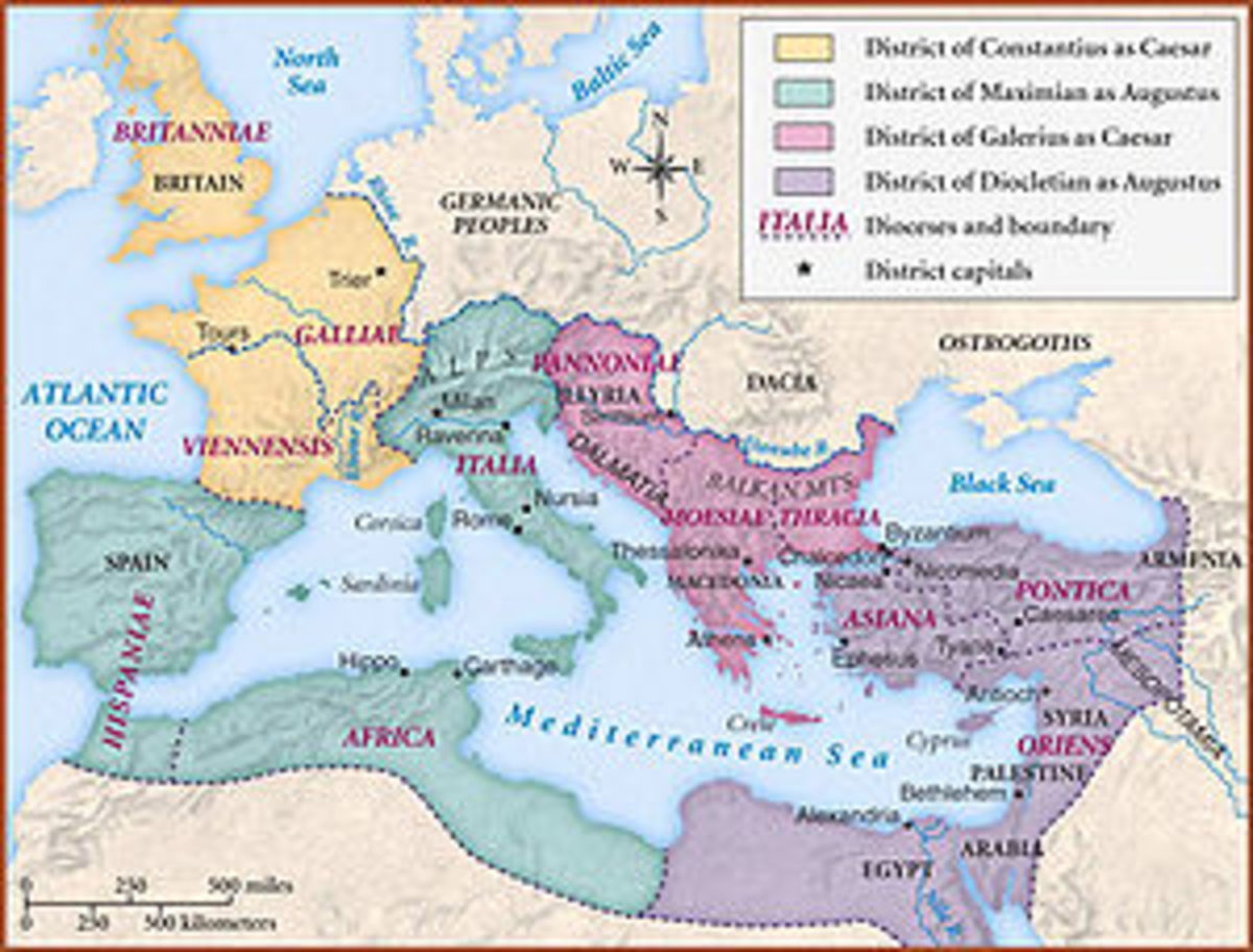 How the Roman Empire was divided in the Days of the Diocletian.  Four colors for each of the four rulers, but the Diocletian had the final word.