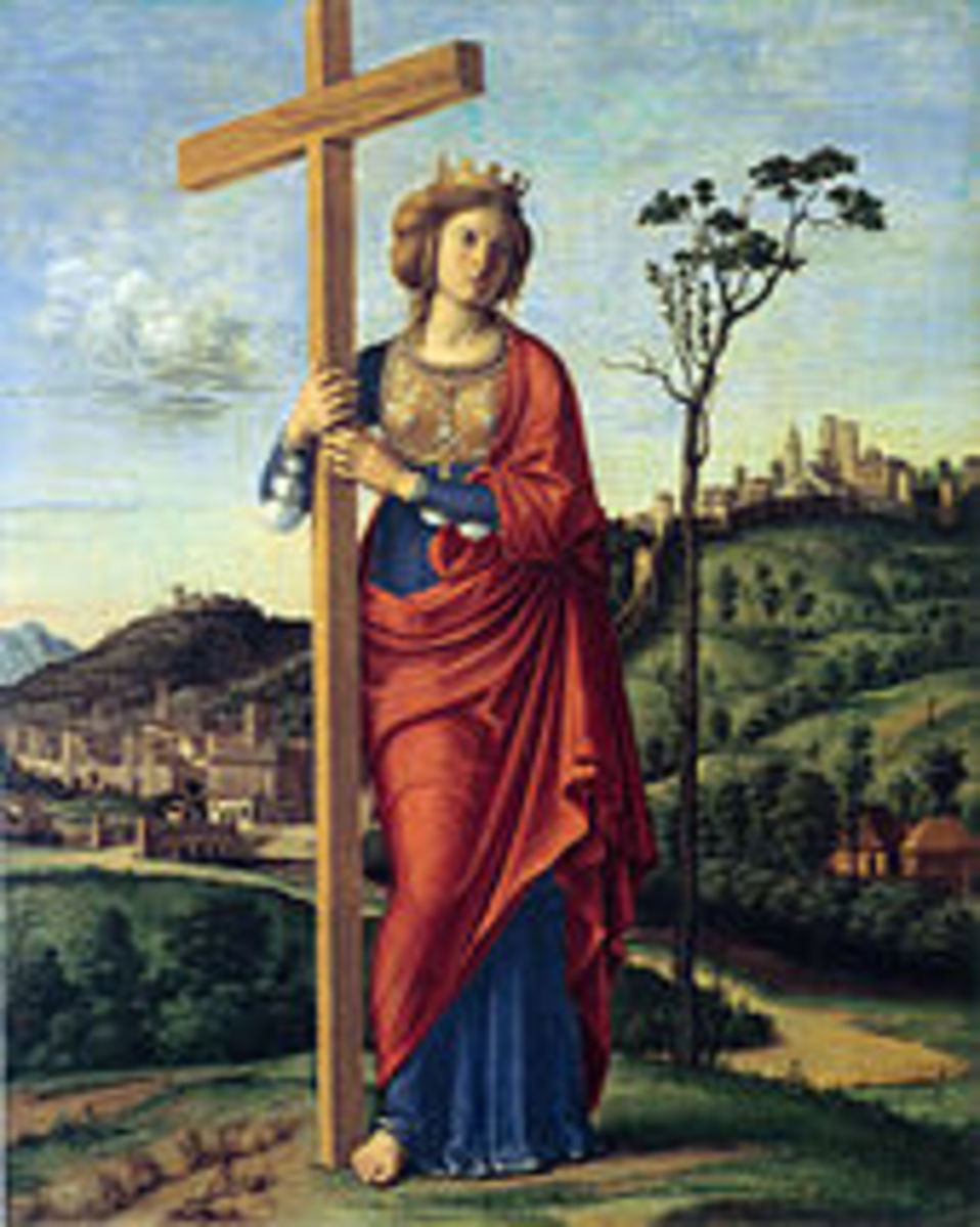An early fresco of Saint Helena, wife of Constantine Chlor and mother of the future Emperor Constantine, who declared the Milan Edict, legalizing Christianity in 313 A.D.