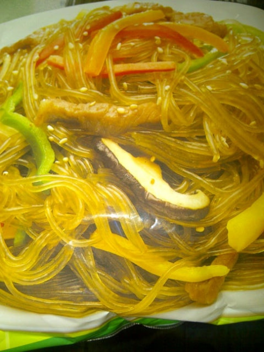 Japchae with sesame seed oil