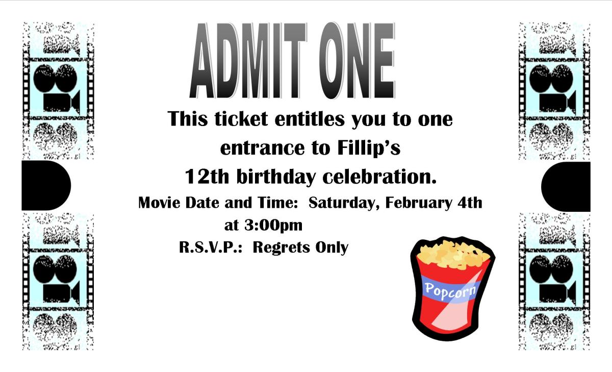 Example of an invitation for a movie themed party.