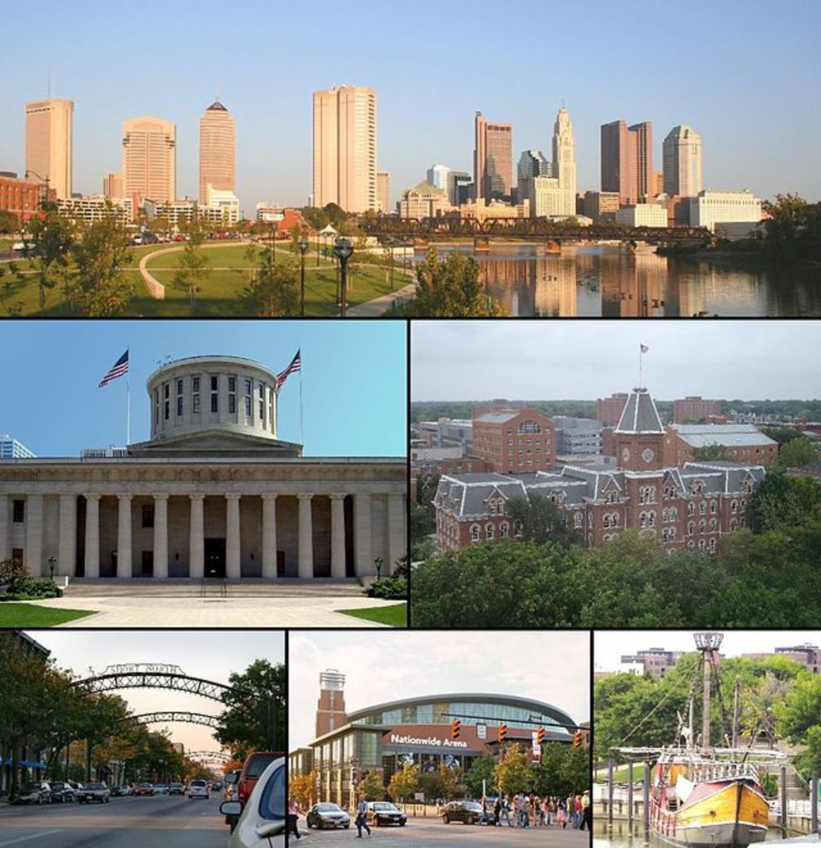 Columbus: Downtown Columbus, Ohio Statehouse Capitol Square, University Hall, Short North, Nationwide Arena, and Santa Maria replica