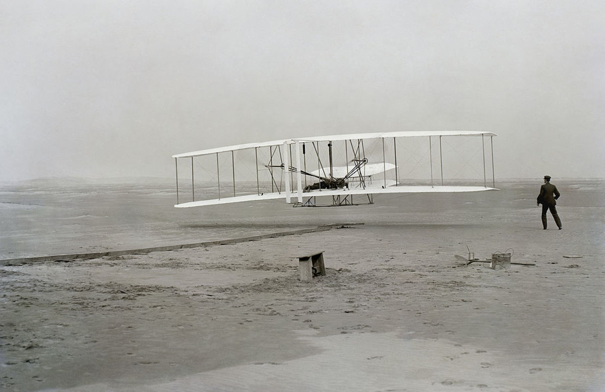 The first flight of the Wright Flyer I in 1903