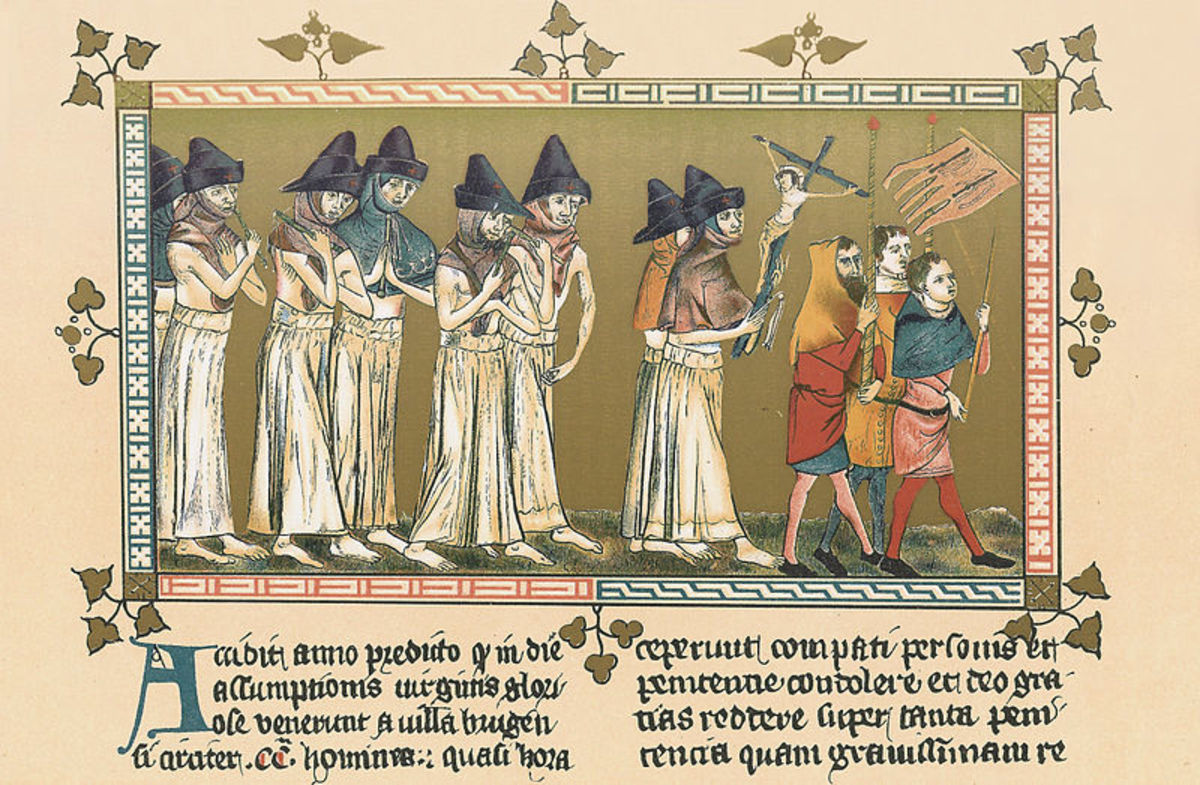 This contemporary manuscript tells of how around 200 Flaggelants arrived at Doornik from Bruges.  Although the people of Doornik had never seen such acts of penance, they joined in, thanking God.