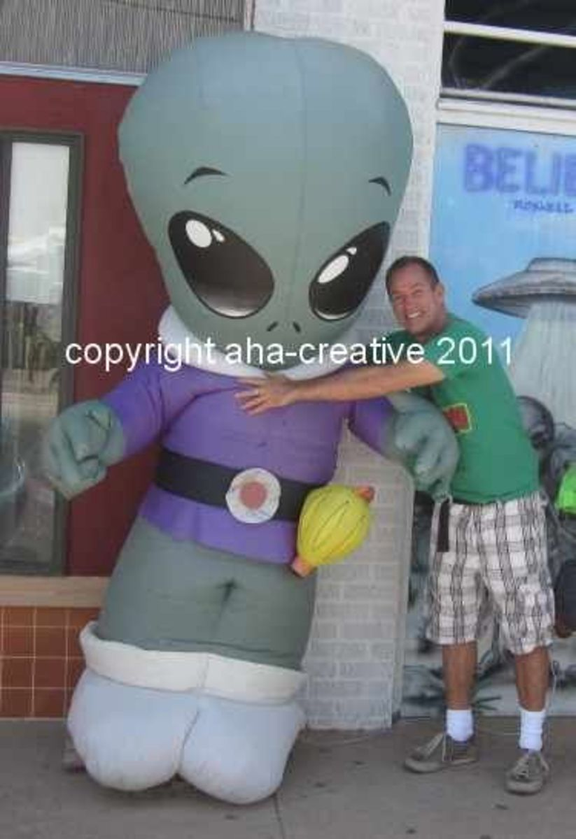 We should have asked where to purchase this inflatable alien--Ricky fell in love with it.