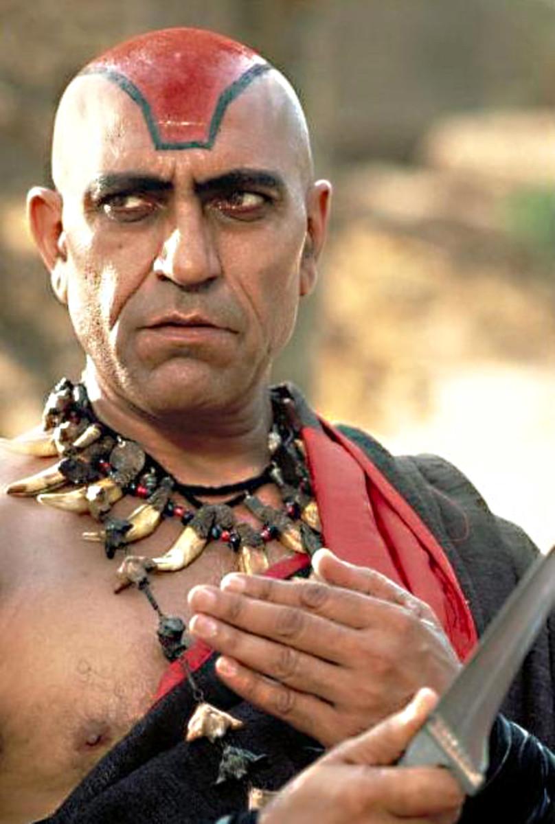 Amrish Puri looks suitably villainous as the evil Indian mystic Mola Ram