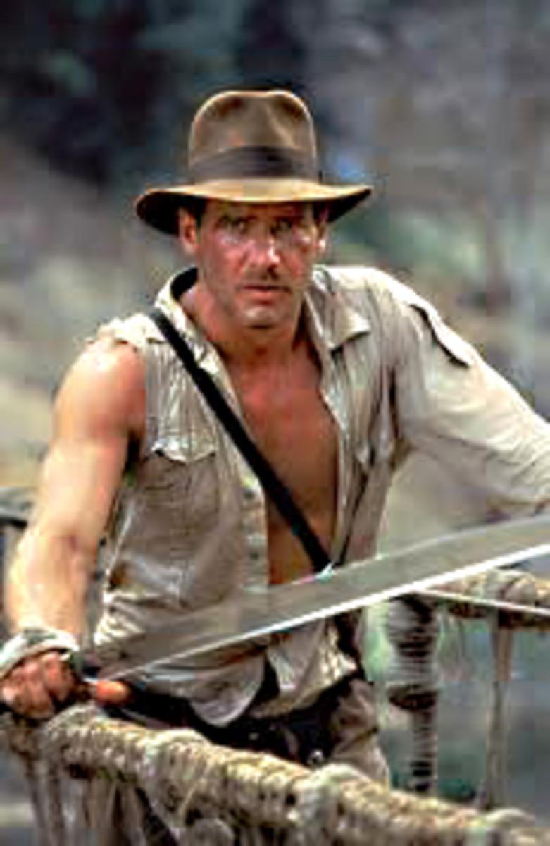 Indiana Jones in action - still on the rope bridge