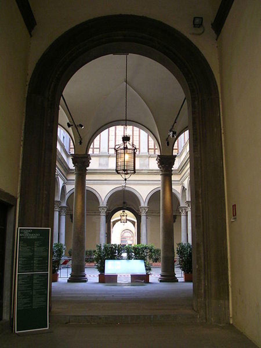 Courtyard of Palazzo Strozzi in Florence, Italy.  Notice the arches, columns, mouldings and decorateive details, all part of Renaissance architecture.