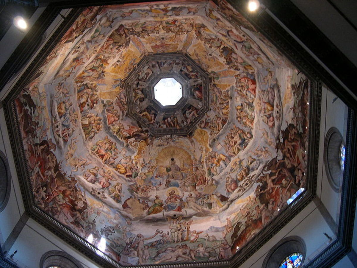 Inside of the dome of the Florence Cathedral designed by Brunelleschi
