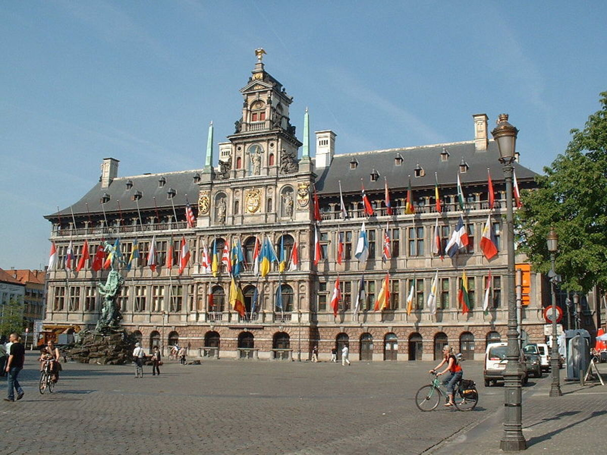 "Antwerp City Hall (1564), the Netherlands. ""Antwerp Mannerism"" style.  Notice the Dutch gables"