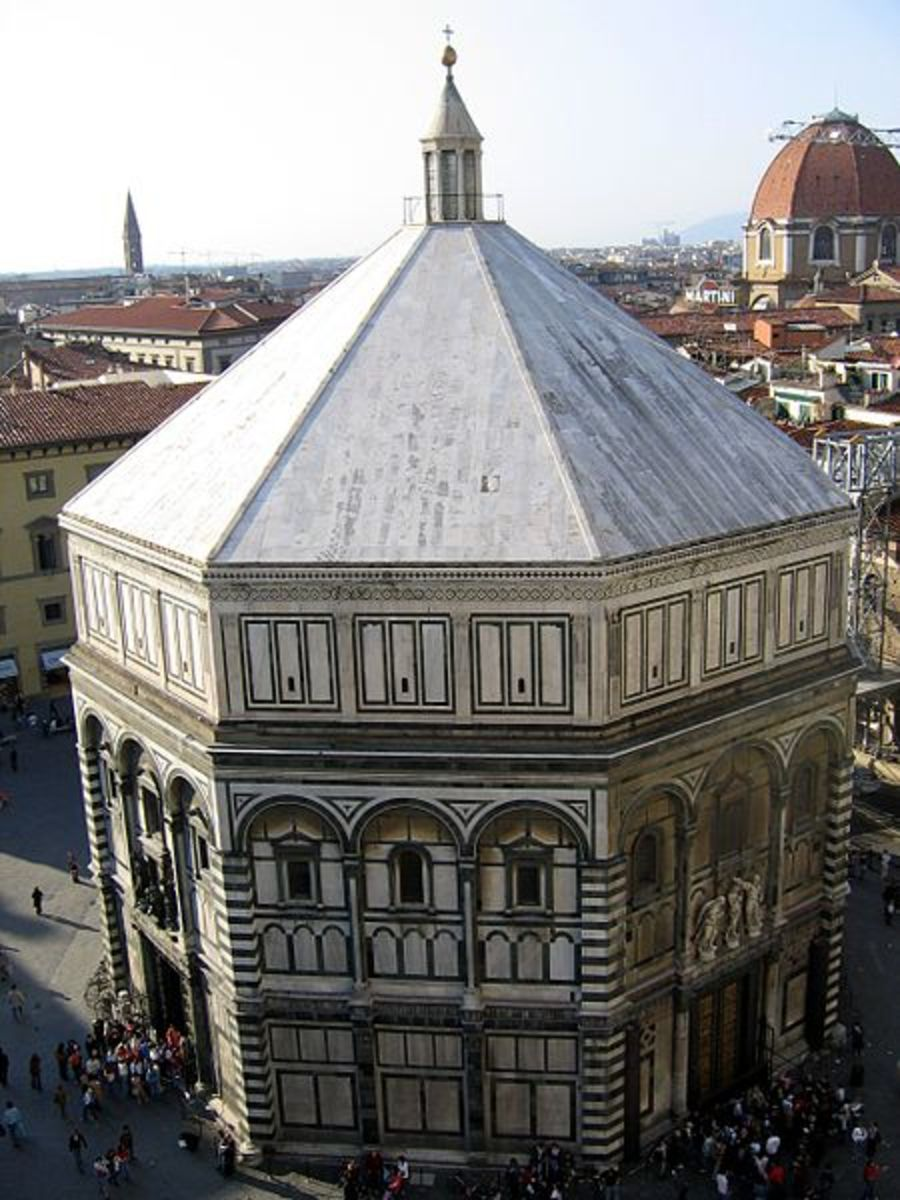 The Bapistery in front of the Florence Cathedral.  Designed and built by Giotto and brass doors designed and built by Ghilberti.