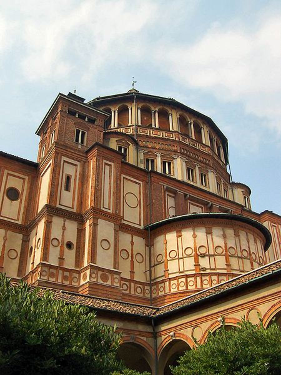 Santa Maria della Grazie, Milan, Italy.  Architect:  Donato Bramante (1444-1514)  Notice the brick structure and the N. Italian tradition of a squared dome.